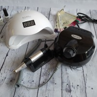 1+1 Лампа 48 ватт SUN 5 + Аппарат NAIL DRILL 45 w 25 тыс. оборотов